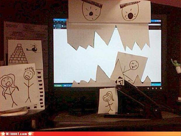 Cover That Monitor-Funny Things People Do When Bored