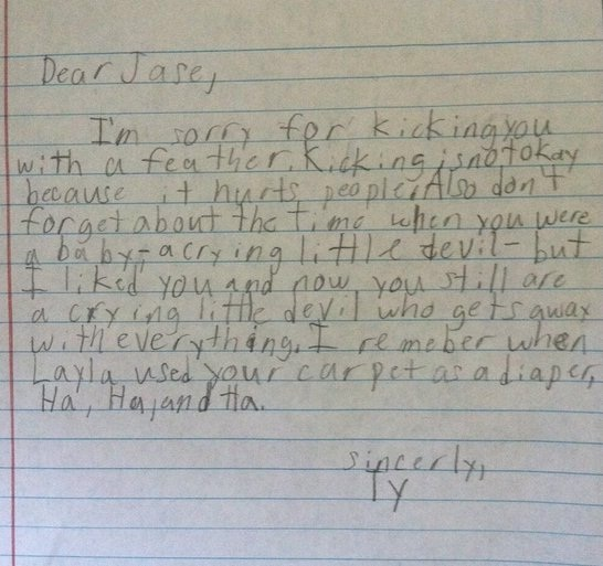 Not Really An Apology-Hilarious And Honest Notes From Kids