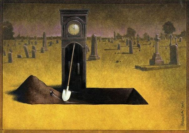 Waiting for the end of time-Thought-Provoking Satirical Illustrations By Pawel Kuczynski