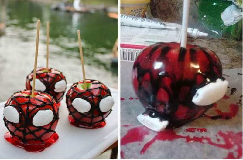 Spiderman Candy Apples-15 Funniest Halloween Recipe Fails