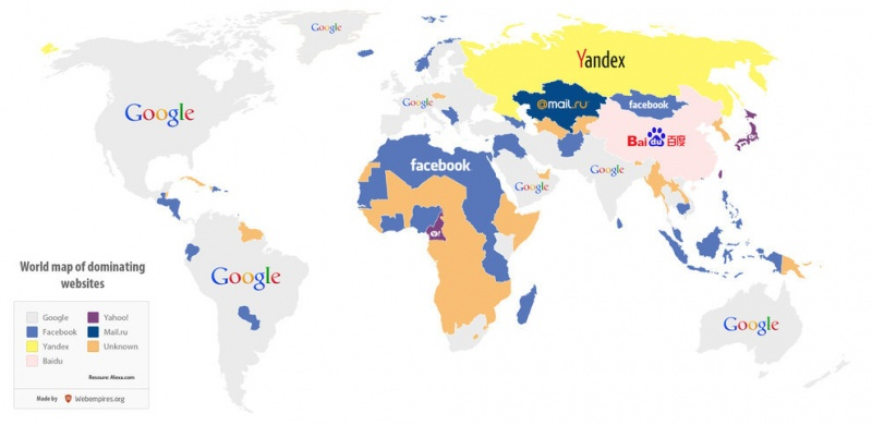 Countries and Their Favorite Websites-15 Maps That Will Change The Way You See The World