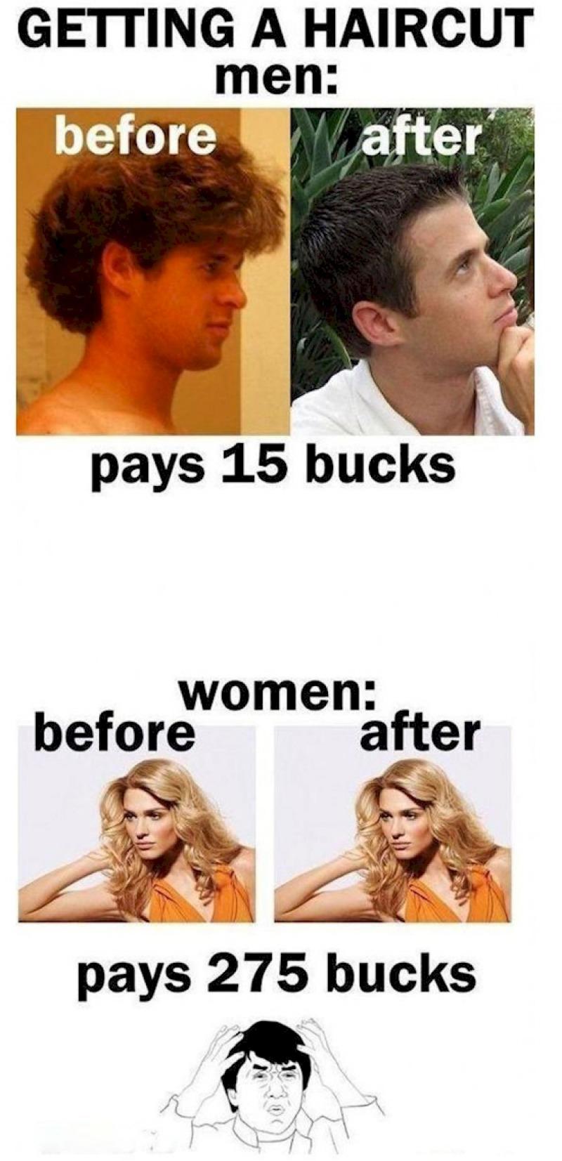 Haircuts: Men vs. Women-15 Hilarious Differences Between Men And Women