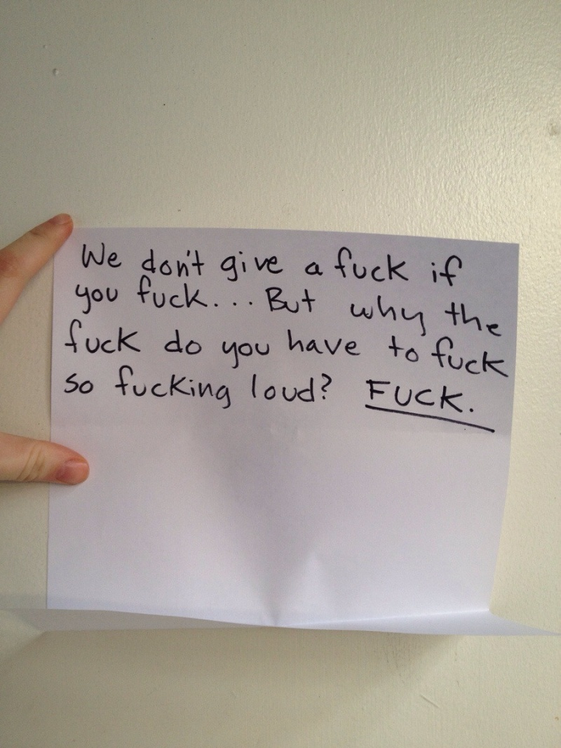 This F**king Note-15 Funniest Notes Ever Left For Neighbors Having Sex Very Loud