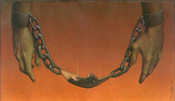 The boss always wins-Thought-Provoking Satirical Illustrations By Pawel Kuczynski