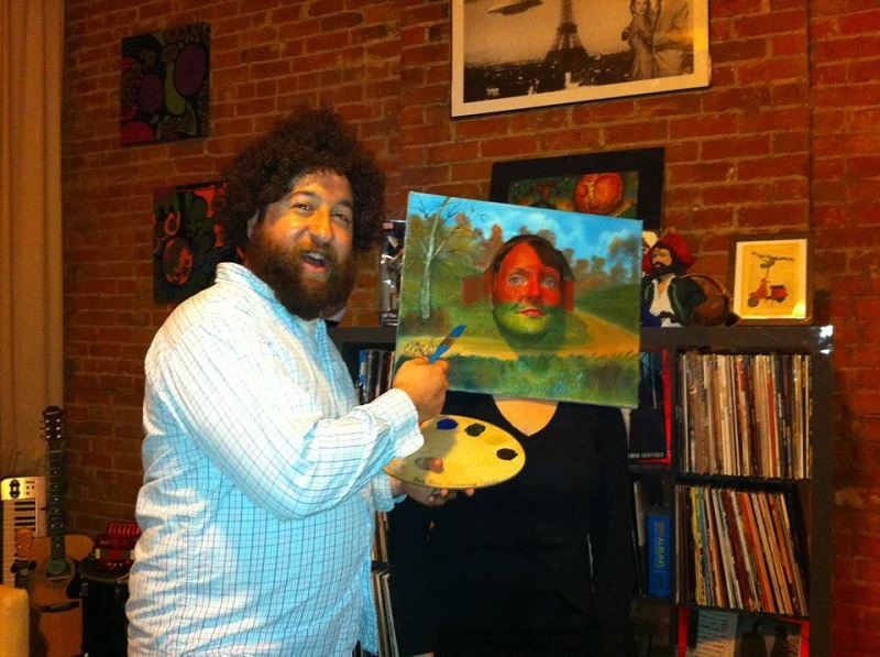 Bob Ross and Painting Costume-Fifteen Halloween Couple Costumes That Are Super Amazing