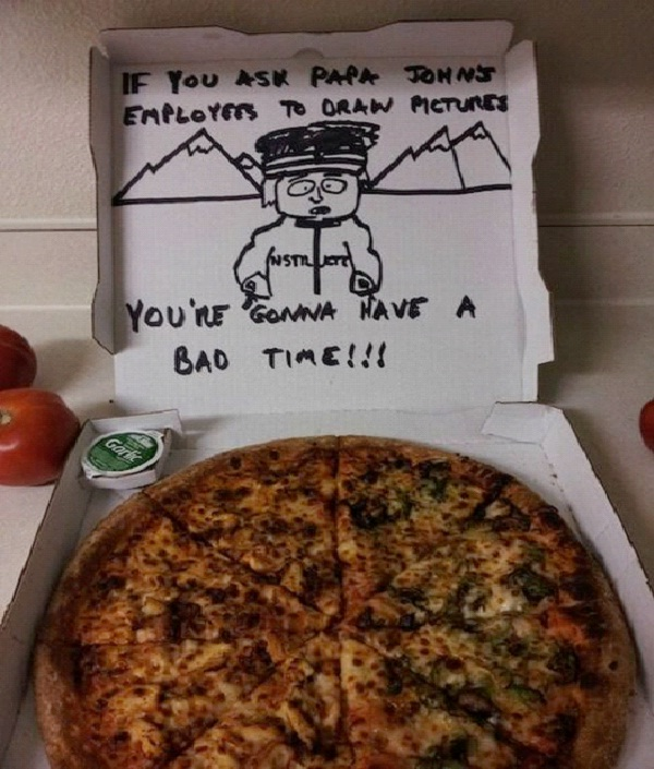 """South Park Pizza Chef-Funny """"Special Request"""" Pizza Box Drawings"""