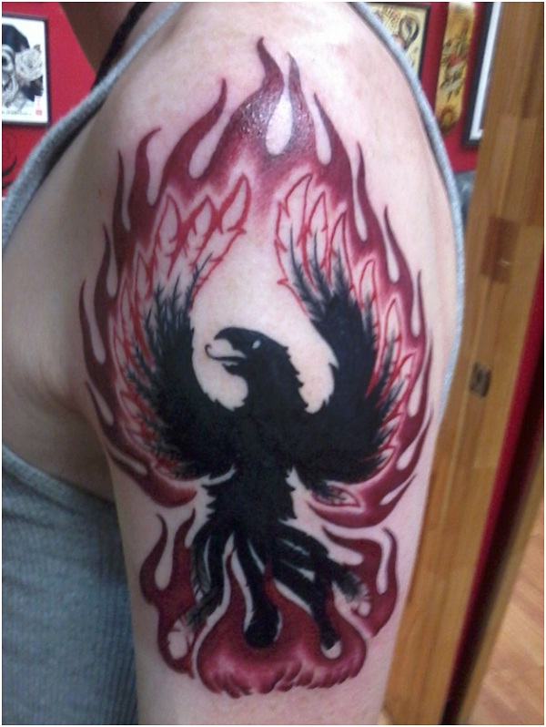 Flames galore-Amazing Looking Phoenix Tattoos
