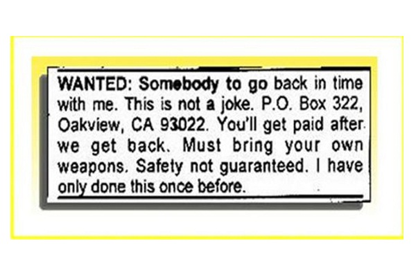 Back In Time Job-Hilarious Job Ads
