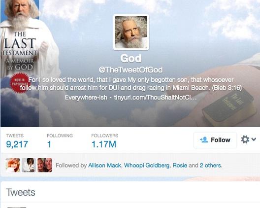 God @TheTweetOfGod-12 Funny Twitter Accounts To Follow