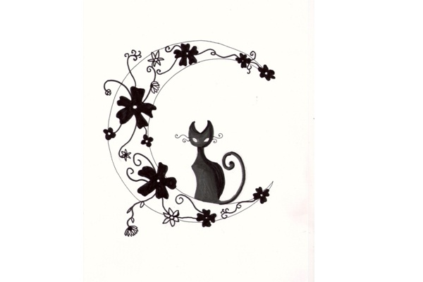Cat and Flowers Tattoo Design-Cat Tattoos Designs
