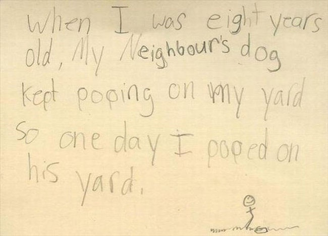 A strange confession-Hilarious And Honest Notes From Kids