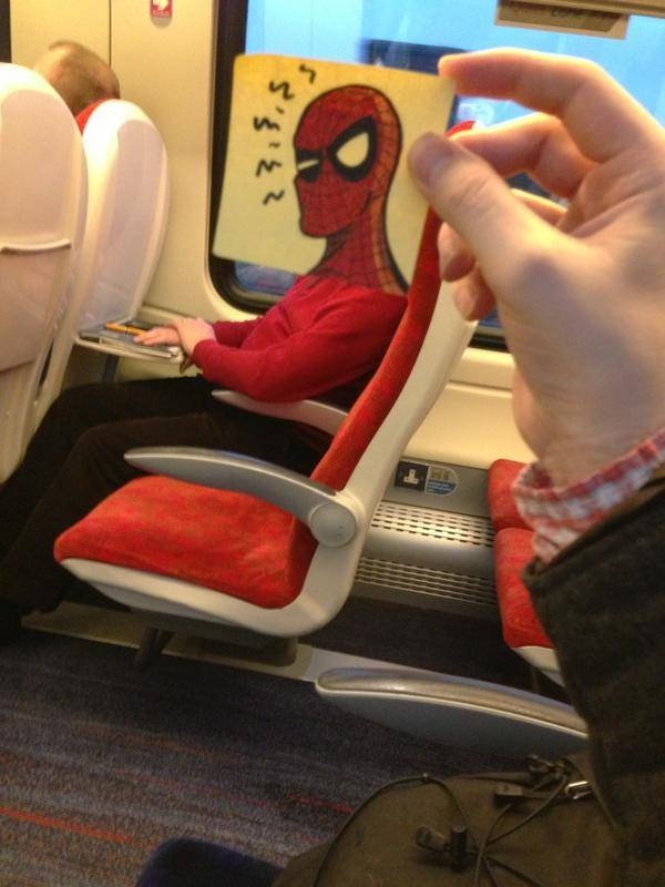 Go Spiderman!!-Amazing Pics Of Train Passengers With Cartoon Heads By October Jones