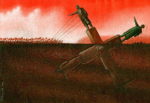 As one falls another rises-Thought-Provoking Satirical Illustrations By Pawel Kuczynski
