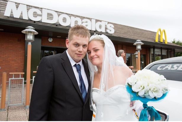 The happy couple-Pics Of People Getting Married In McDonalds