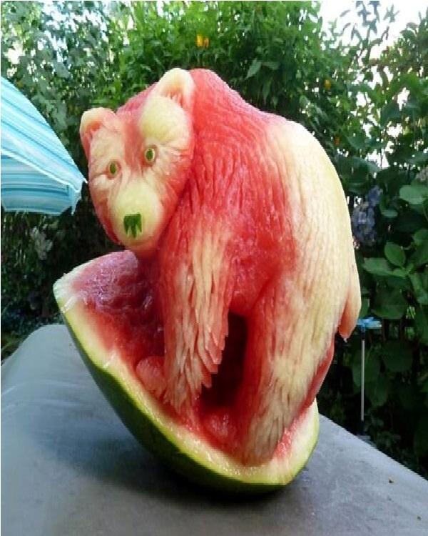 Bear Watermelon-Amazing Watermelon Art