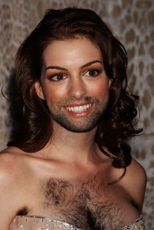 Anne Hathaway-24 Hilarious Female Celebrities With Beard Photos