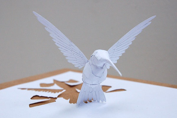 Hummingbird-Papercut Sculptures From Single Sheet Of A4