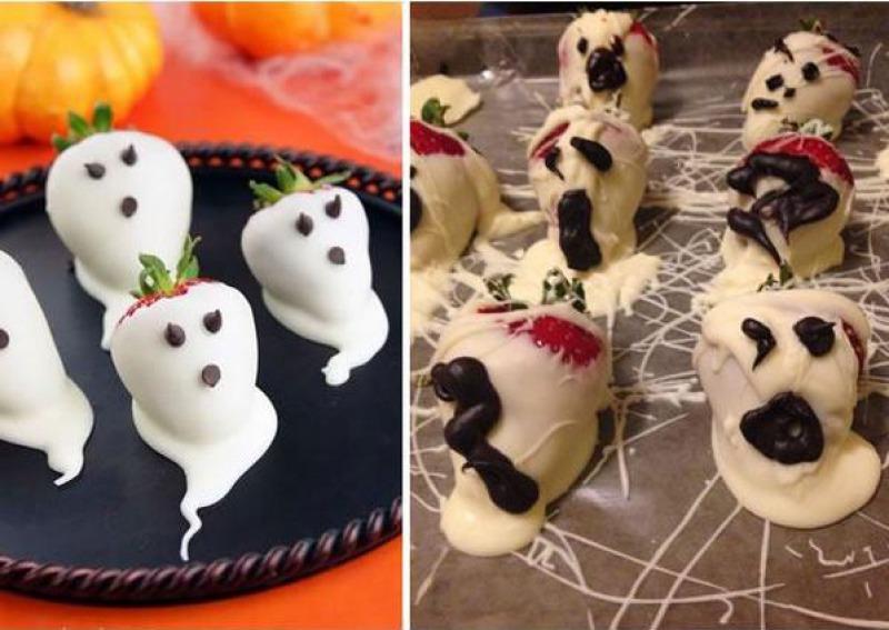 Halloween Strawberry Ghosts-15 Funniest Halloween Recipe Fails
