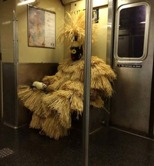 On His Way to Fancy Dress Competition!-15 Most Awkward Public Transport Pictures