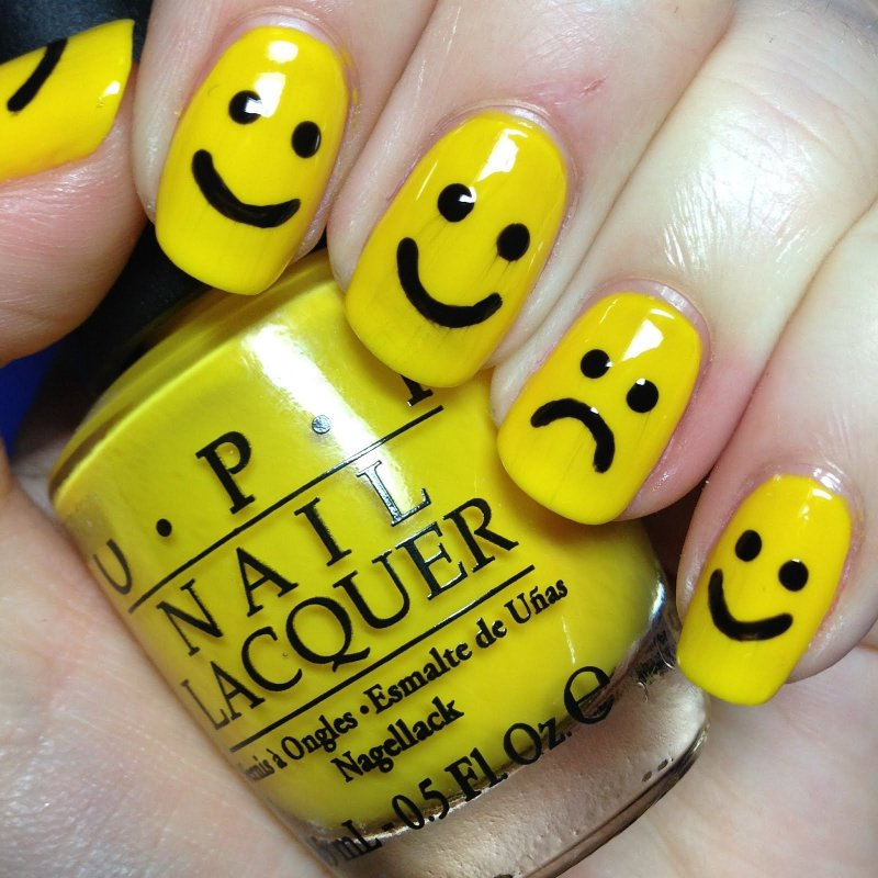 Smiley Face/frowny Face-15 Amazing Nail Arts That You Must Try Once In Your Life