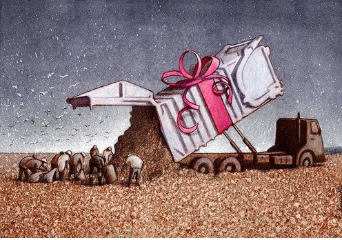 A present for the poor-Thought-Provoking Satirical Illustrations By Pawel Kuczynski