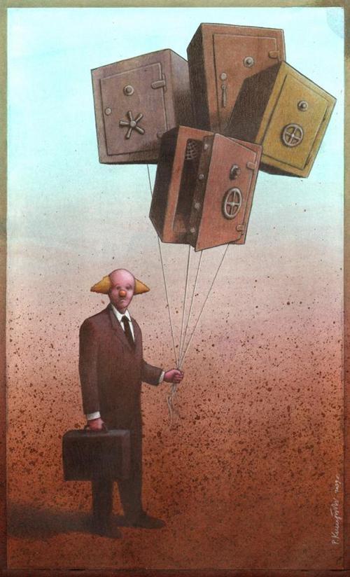 The bank clowns-Thought-Provoking Satirical Illustrations By Pawel Kuczynski