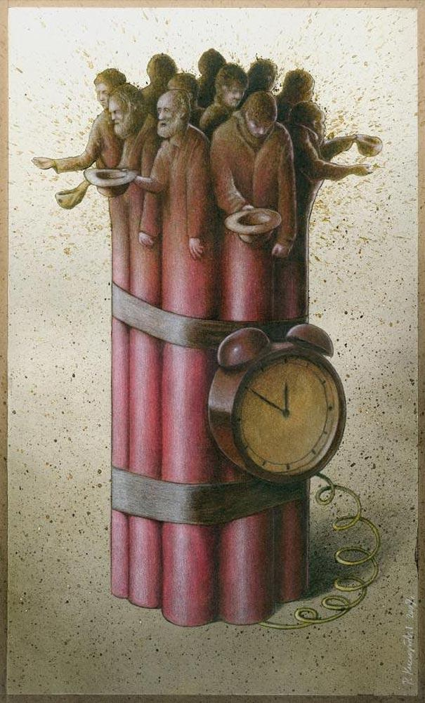 The ticking time bomb-Thought-Provoking Satirical Illustrations By Pawel Kuczynski