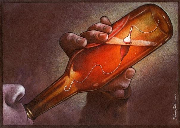 Hooked by alcohol-Thought-Provoking Satirical Illustrations By Pawel Kuczynski