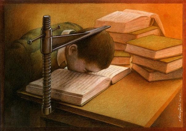 The Pressures Of Studying-Thought-Provoking Satirical Illustrations By Pawel Kuczynski