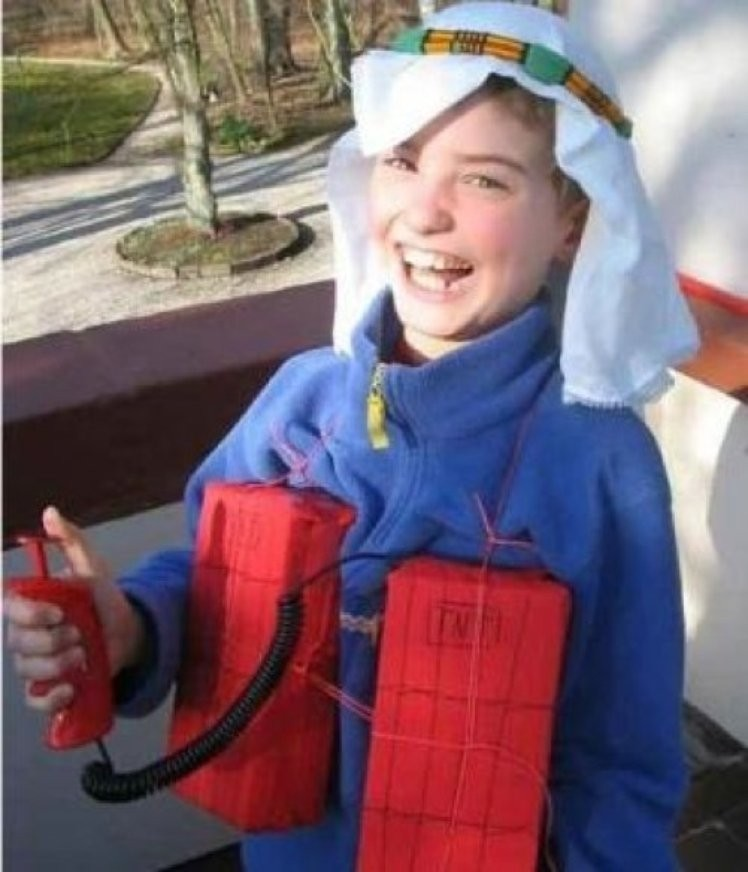 Suicide Bomber Costume-15 Disgusting Kids Halloween Costumes Ever