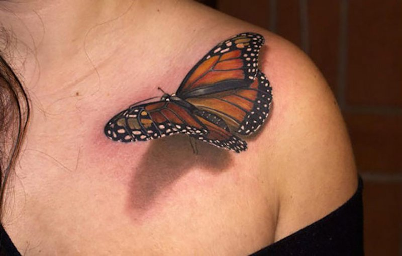 3D Butterfly Tattoo-15 Fantastic Three Dimensional Tattoos That Will Blow Your Mind