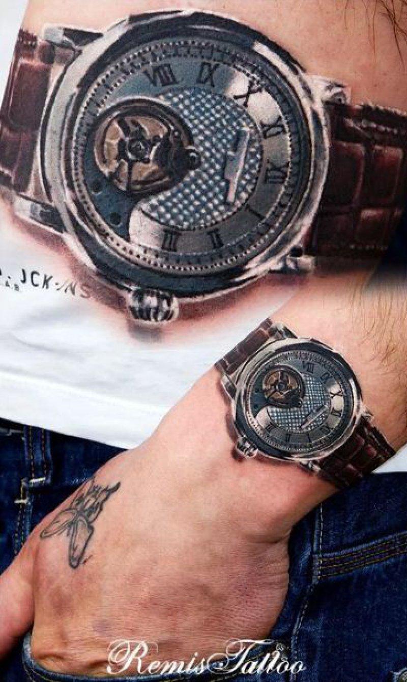 3D Watch Tattoo-15 Fantastic Three Dimensional Tattoos That Will Blow Your Mind
