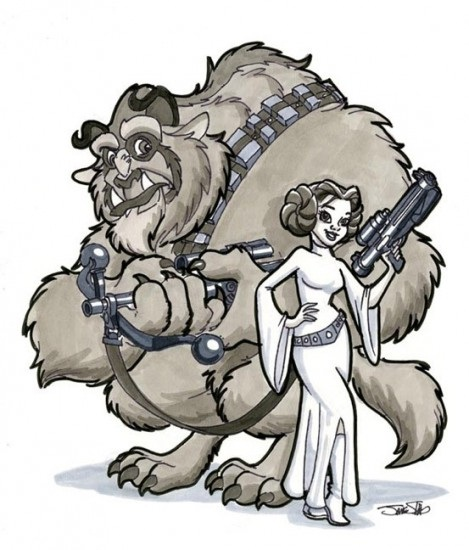 Beauty and the beast-Disney Characters In Star Wars Theme