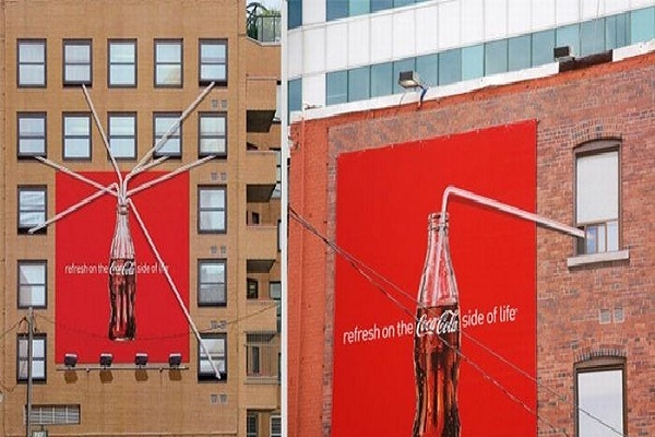 Clever Coke-Creative Ads On Buildings