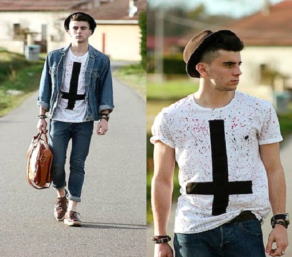 T-Shirt, Fedora, and Rolled Cuffs On Jeans-Best Hipster Style Men