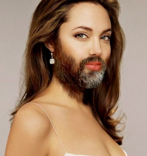 Angelina Jolie-24 Hilarious Female Celebrities With Beard Photos