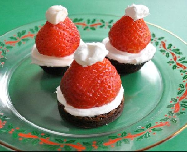 Santa Hat Brownies-Christmas Recipes