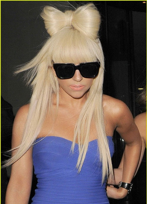 With a bow on top-Lady Gaga Hairstyles