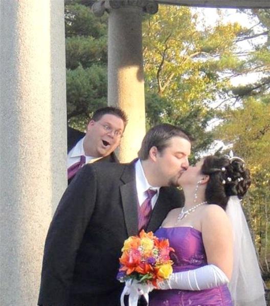 I Saw You Kissing-Best Wedding Photo Bomb