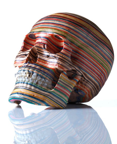 Scary Skull-Beautiful Sculptures Made Out Of Skateboards By Haroshi