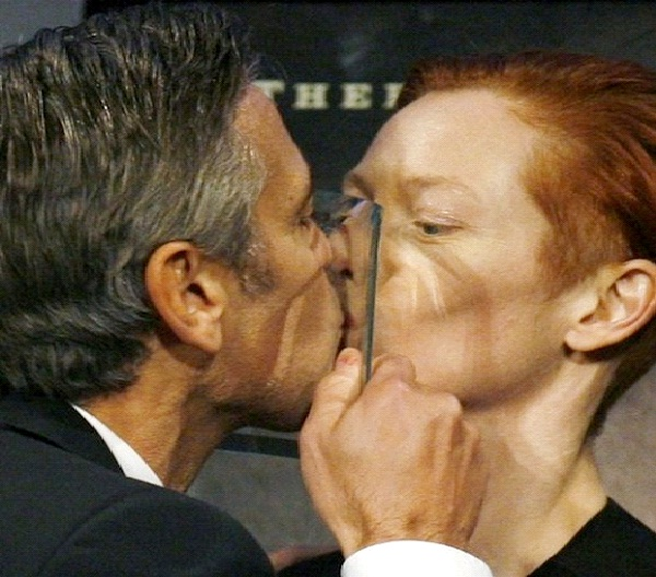 George Clooney/ Tilda Swinton-Most Awkward Celebrity Kisses