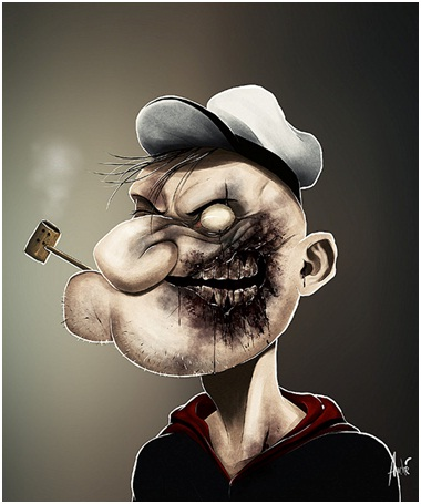 Popeye The Sailor Zombie-Zombified Faces Of Famous Cartoons