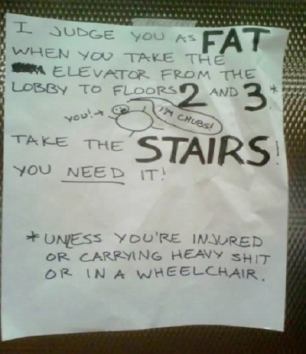 Fatty-Absolutely Hilarious Elevator Notes