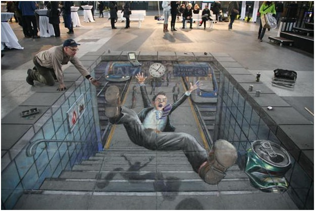 Tripping Down The Stairs-Amazing 3D Street Art