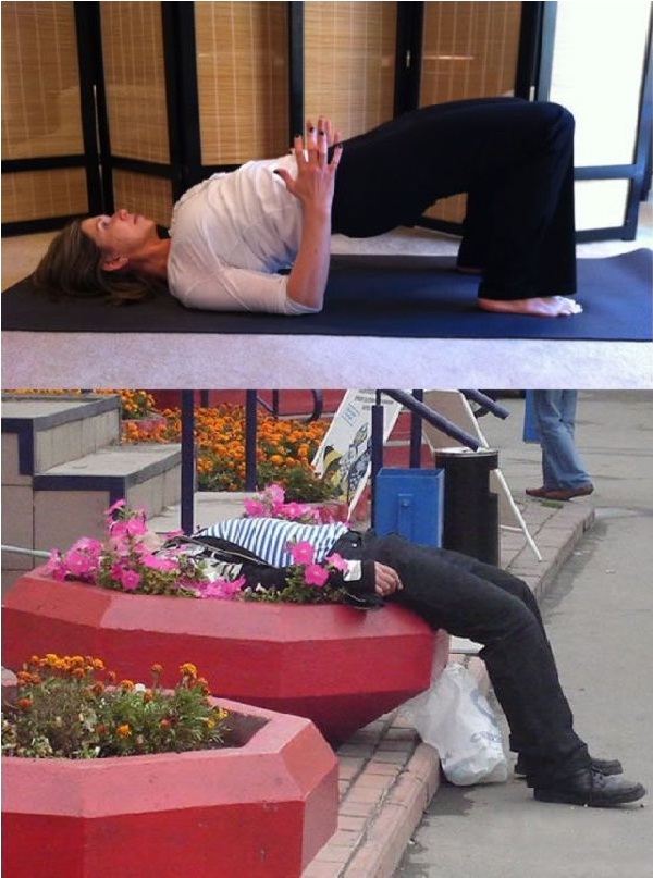 Arch up-Yoga Vs. Drunk Poses