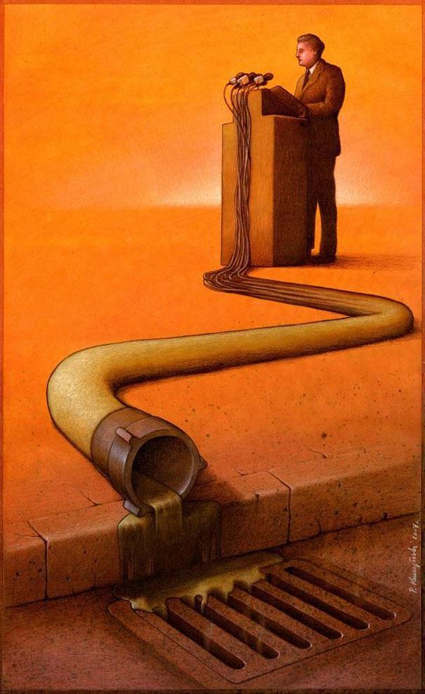 Speaking sewage-Thought-Provoking Satirical Illustrations By Pawel Kuczynski