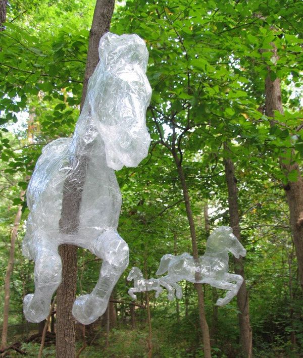 Carousel on trees-Amazing Packing Tape Sculptures