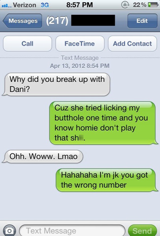 Too much info-Hilarious Wrong Number Replies