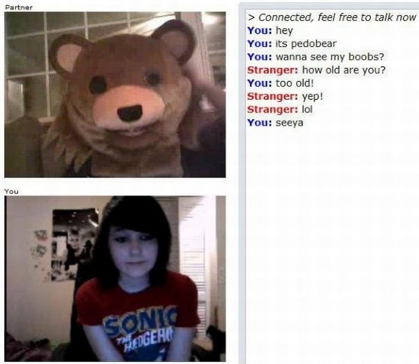 Pedobear-24 Hilarious Chatroulette Chats That Will Make You Laugh Out Loud