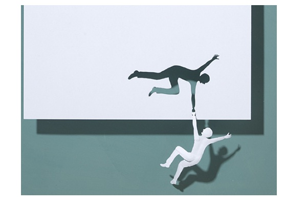 Falling man-Papercut Sculptures From Single Sheet Of A4